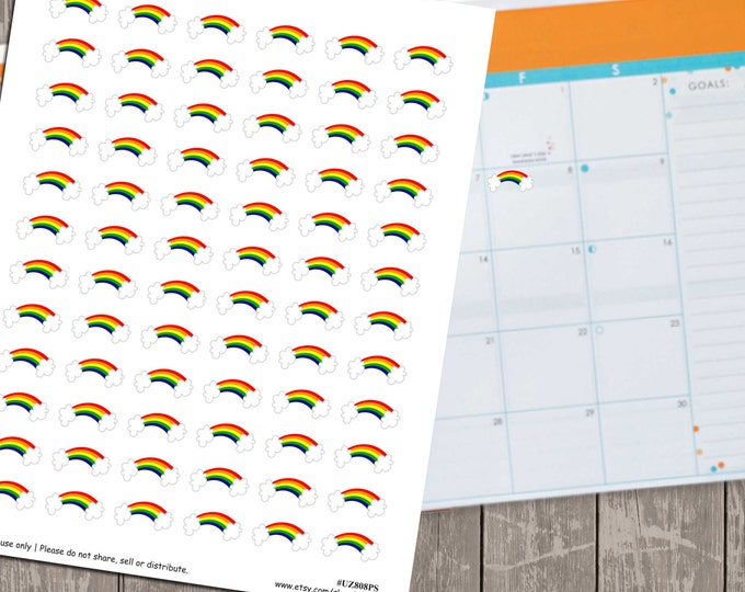 80% OFF SALE Rainbow Planner Stickers, Set of 72 Printable Planner Stickers, Instant Download - UZ808PS