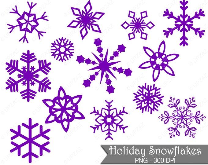 40% OFF SALE Purple Snowflake Clipart, Commercial Use - UZ832