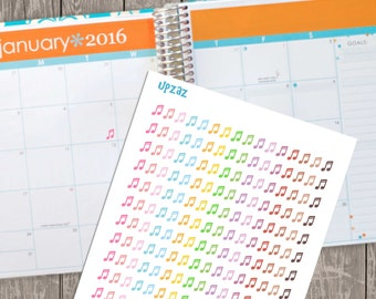 Pastel Music Notes Life Planner Stickers, Set of 192 Printable Planner Stickers, Instant Download - UZ826PS