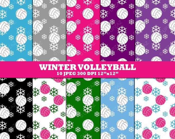 40% OFF SALE Volleyball Digital Papers, Background, Scrapbook Papers, Digital Images - UZ616