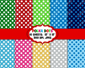 Polka Dot Digital Papers, Background, Digital Images - UZ836