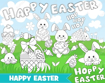 Easter Clipart, Digital Stamp, Digital Images, Instant Download - UZ880B