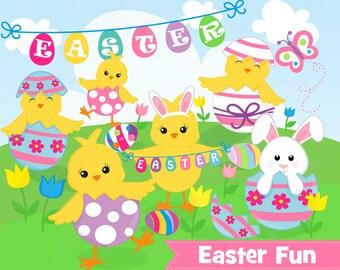 Easter Chicks Clipart, Commercial Use, Easter Peeps Vector, Digital Clip Art, Easter Eggs - UZ890