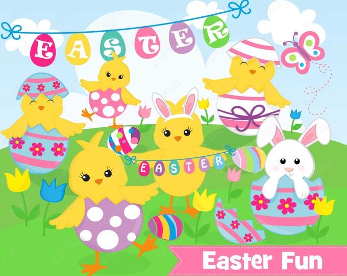 40% OFF SALE Easter Chicks Clipart, Commercial Use, Easter Peeps Vector, Digital Clip Art, Easter Eggs - UZ890