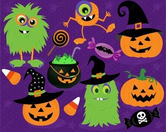 Halloween Clipart, Monster Clipart, Digital Images - UZ1018