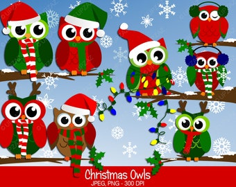 Christmas Owl Clipart, Commercial Use, Holiday Owl Clipart, Digital Clipart, Digital Images - UZ605