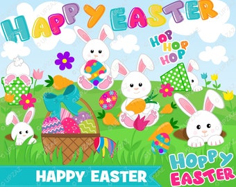 Easter Bunny Clipart, Instant Download, Digital Images - UZ880