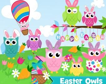 Easter Owl Clipart, Instant Download, Digital Images - UZ879