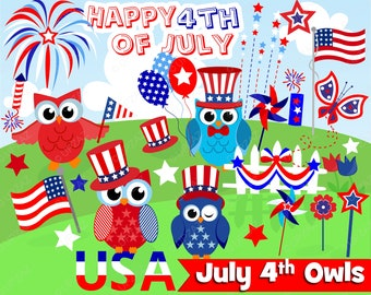 4th of July Owls, Independence Day, Digital Images - UZ938