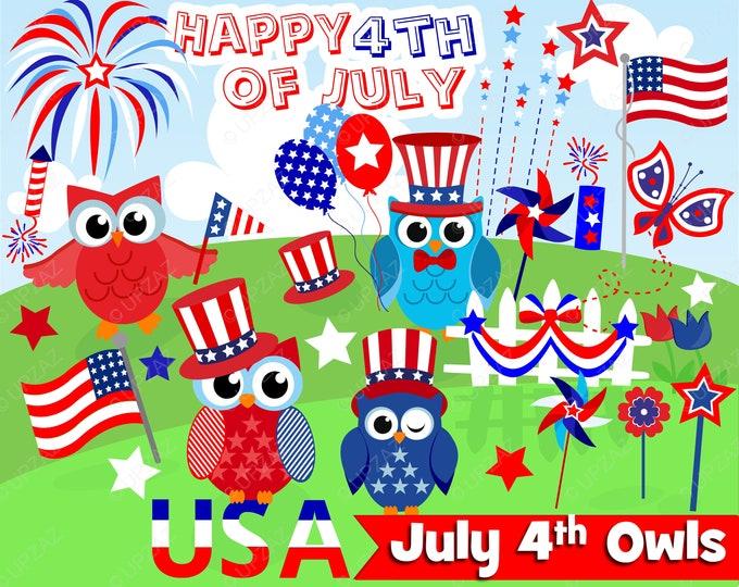 40% OFF SALE 4th of July Owls, Independence Day, Digital Images - UZ938