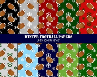 Christmas Football Digital Papers, Scrapbook Papers, Background, Digital Images - UZ618