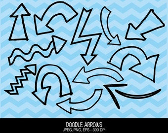 Hand Drawn Doodle Arrows Clipart, Arrow Icons, Vector Graphics, Digital Images - UZ598