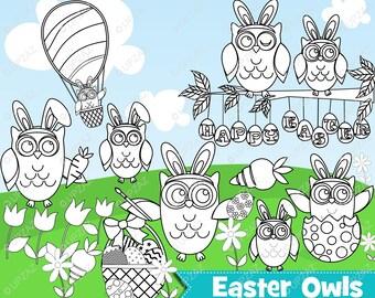Easter Owl Digital Stamp, Instant Download, Digital Images - UZ879B