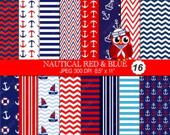Nautical Digital Paper, Scrapbook Papers, Background, Digital Images - UZ614