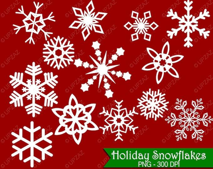 40% OFF SALE Snowflake Clipart, Digital Images - UZ595