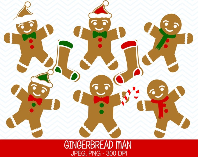40% OFF SALE Gingerbread Man Clipart, Commercial Use, Gingerbread Men, Digital Clipart, Digital Images - UZ602