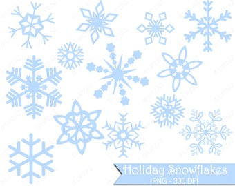 Pastel Blue Snowflake Clipart, Commercial Use - UZ833