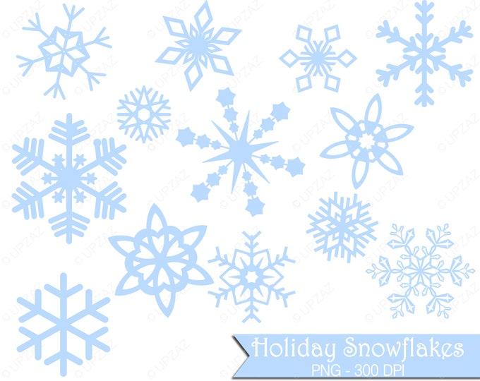 40% OFF SALE Pastel Blue Snowflake Clipart, Commercial Use - UZ833