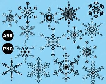 Snowflake Brushes Photoshop, Snowflake abr png, Digital Image - UZPSB980