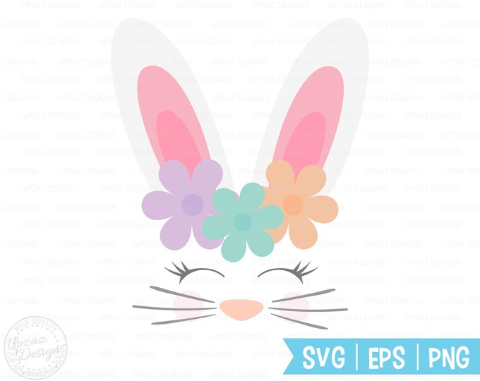 Bunny SVG, Bunny face with lashes, Bunny Ears, Rabbit Svg, Silhouette Cut Files, Cricut Cut Files, Svg Files - SV421