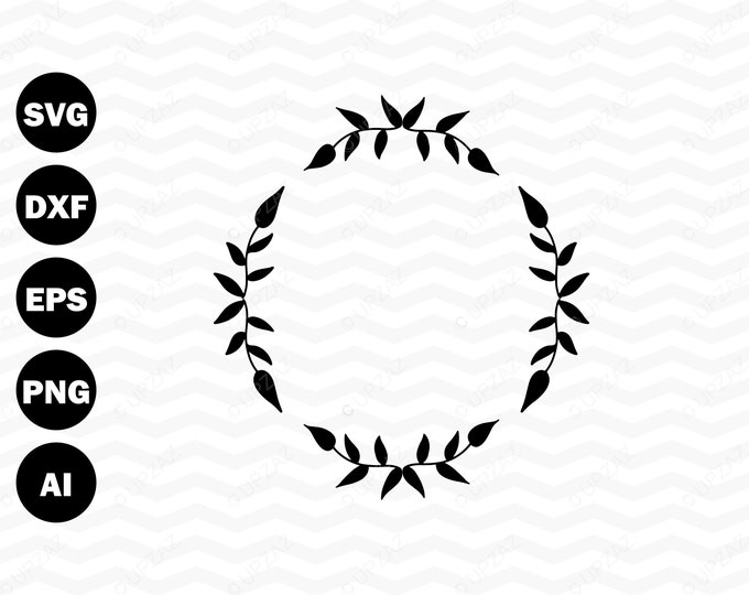 80% OFF SALE Laurel Wreath SVG, Monogram Frame, Cutting Files For Silhouette and Cricut, Svg Files - SVG802