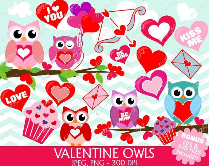 40% OFF SALE Valentine Owl Clipart, SVG, Digital Images - Uz870