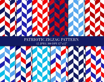 Patriotic Chevron Pattern Digital Papers, Background, Digital Images - UZDP926