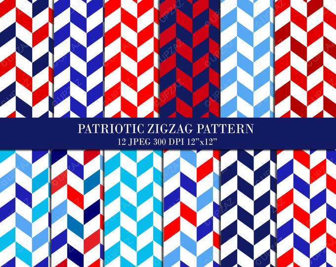 40% OFF SALE Patriotic Chevron Pattern Digital Papers, Background, Digital Images - UZDP926
