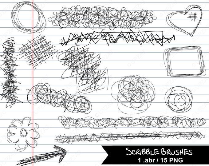 Photoshop Brushes, Scribble Brushes, Digital Image - UZPSB859