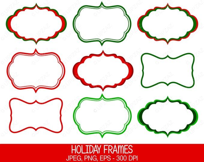 40% OFF SALE Christmas Frame Clip Art, Vector Graphics, Digital Images - UZ623
