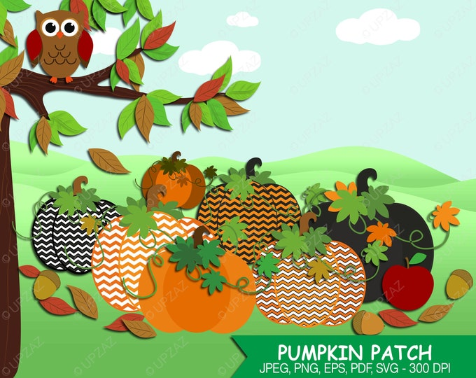 40% OFF SALE Pumpkin Clipart, Chevron Pattern, Digital Images - UZ607