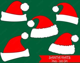 Santa Hat Clipart, Santa Hats, Commercial Use  - UZ835