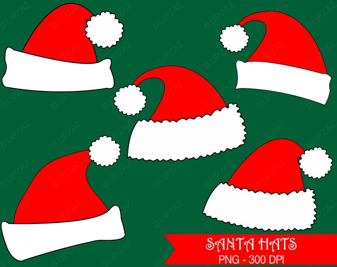 40% OFF SALE Santa Hat Clipart, Santa Hats, Commercial Use  - UZ835
