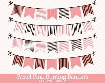 Bunting Flags Clipart, Digital Images - UZ708