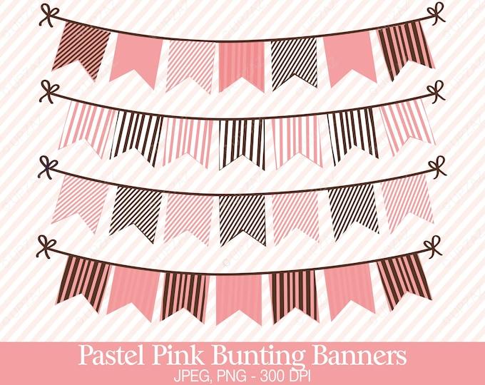 40% OFF SALE Bunting Flags Clipart, Digital Images - UZ708