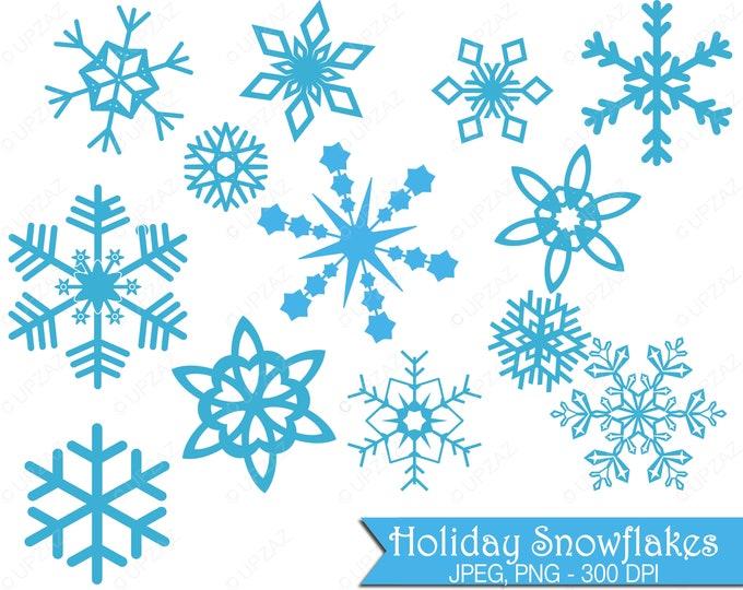 40% OFF SALE Snowflake Clip Art, Commercial Use, Digital Images - UZ624