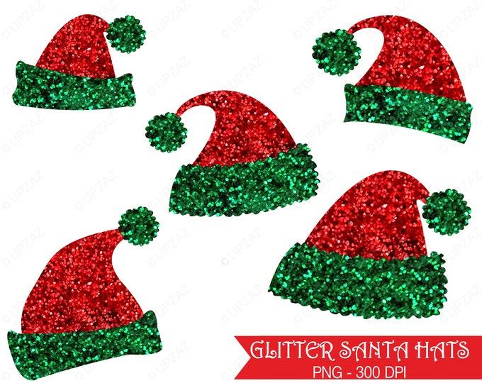 40% OFF SALE Santa Hat Clipart, Glitter Santa Hat, Glitter Santa Hat Clipart, Commercial Use  - UZ859