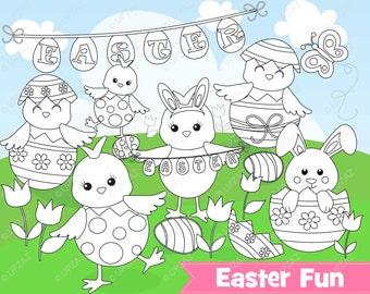 Easter Chicks Digital Stamp Clipart, Commercial Use, Easter Peeps, Digital Clip Art - UZ890