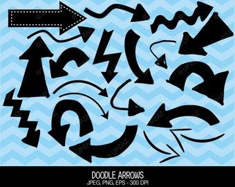 Arrow Clipart, Doodle Clip Art, Vector Graphics, Digital Images - UZ597