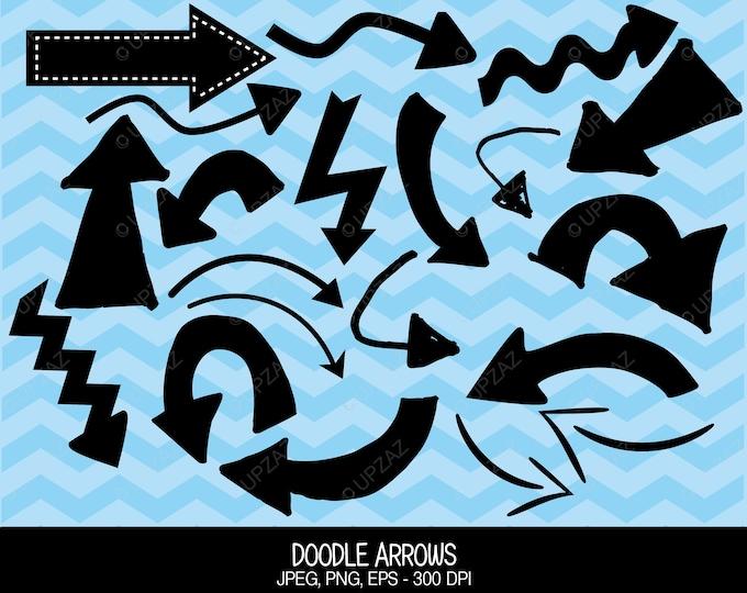 40% OFF SALE Arrow Clipart, Doodle Clip Art, Vector Graphics, Digital Images - UZ597