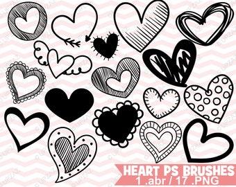 Photoshop Heart Doodle Brushes - UZPSB879