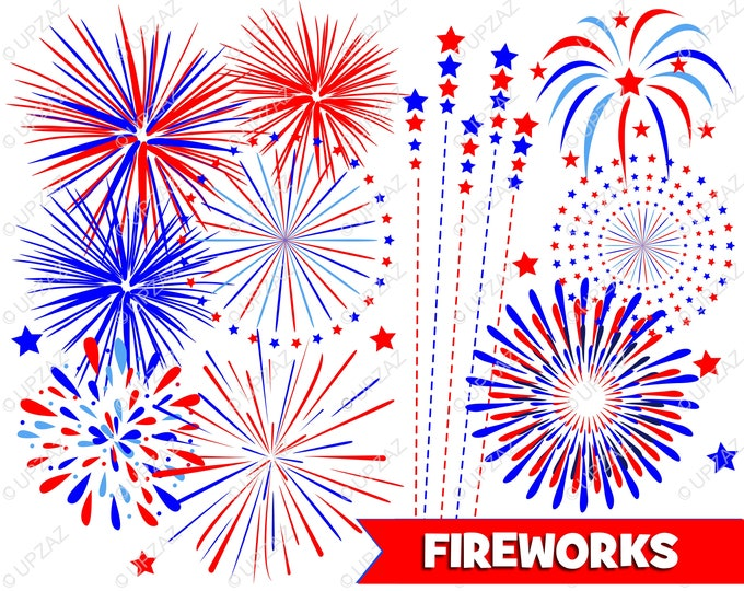 40% OFF SALE Fireworks Clipart, Independence Day, 4th of July, Digital Images - UZ932