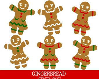 Gingerbread Women Clipart, Commercial Use, Gingerbread Girl, Digital Clipart, Digital Images - UZ603