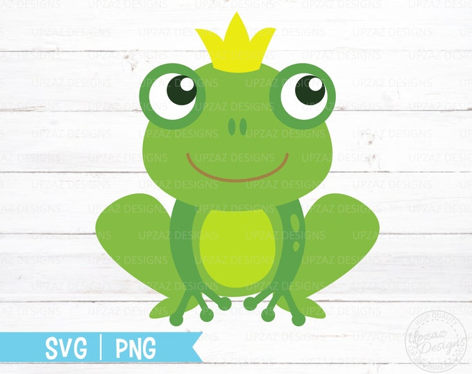 Frog SVG, Frog Prince, Frog with Crown, Dxf cut design, SVG Silhouette Cut Files, Cricut Cut Files - SV316