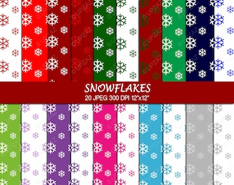 Snowflake Digital Papers, Scrapbook Papers, Background, Digital Images - UZ706
