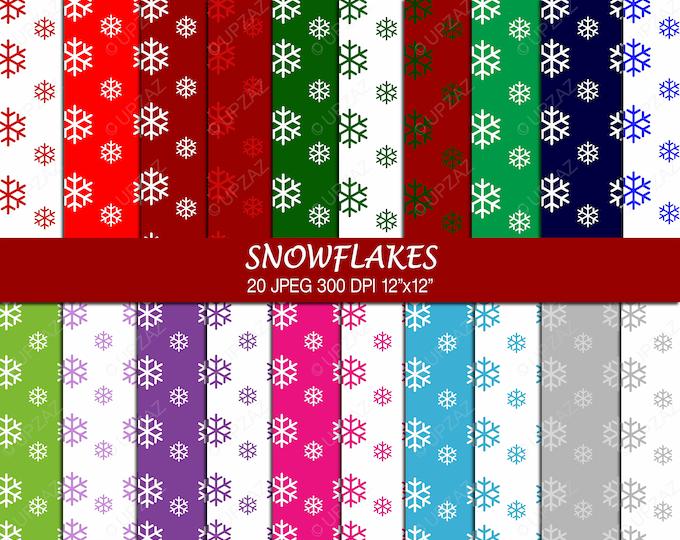 40% OFF SALE Snowflake Digital Papers, Scrapbook Papers, Background, Digital Images - UZ706