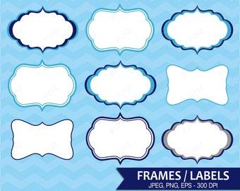 Label Frames Clipart, Vector Graphics, Commercial Use, Bookplate Label, Name Tag Label, Digital Labels, Gift Tags, Digital Images - UZ625