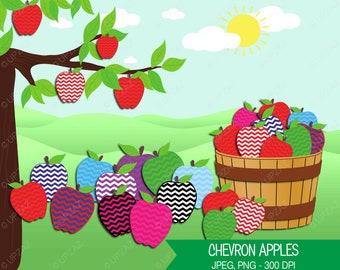 Chevron Apples Clipart, Apple Barrel, Digital Images - UZ609