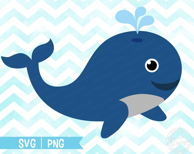Whale SVG, Whale Clipart, Commercial Use, Vector Graphics, Digital Image - SV929