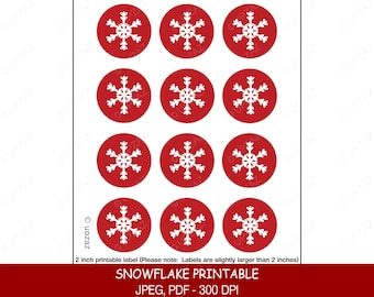 Snowflake Printables, Snowflake Labels, White Snowflakes, Holiday Stickers, Digital Clipart, Digital Images - UZ805